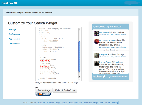 Constructing a search widget on Twitter.com