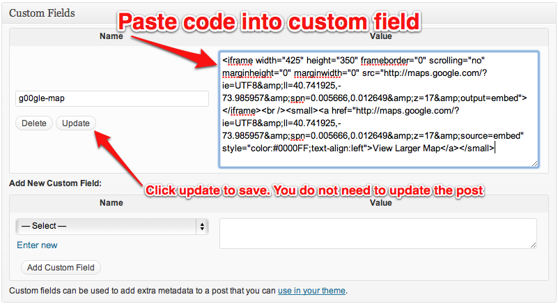 inserting embed code into a custom field