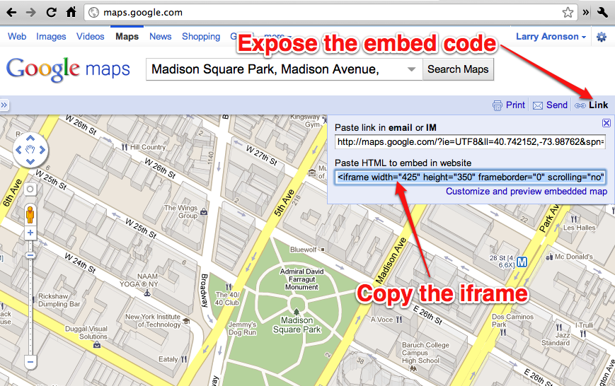 Example of using Google Maps embed code