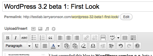 The post editor for WordPress 3.2